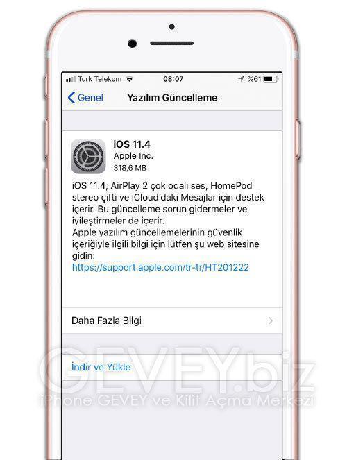 iphone 6s Plus yazılım güncelleme menüsü yok